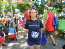 Personal training client Melissa after the Fathers Day Road Race, Easton MA